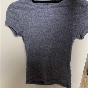 blue ribbed tight t-shirt